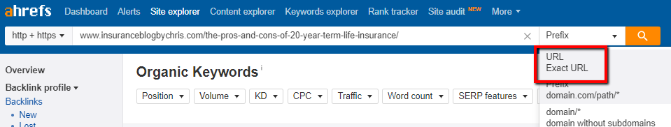 ahrefs tool to research exact url